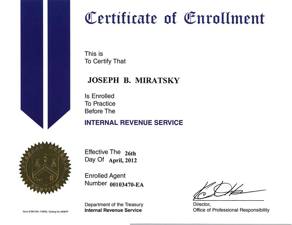 certificate enrollment tax ea preparer cpa irs rtrp